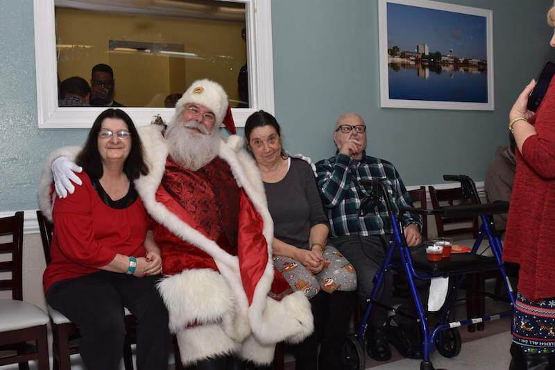 Santa visiting the residents during Christmas party